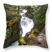 Avalanche Creek In Glacier Np-mt Throw Pillow