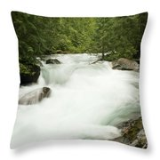 Avalanche Creek In Spring Run Off Throw Pillow