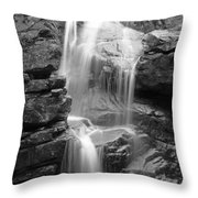 Avalanche Falls In Flume Gorge - Black And White Throw Pillow