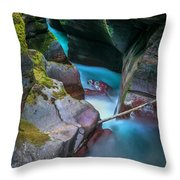 Avalanche Gorge Glacier National Park Painted   Throw Pillow