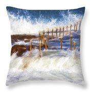 Avalon Rockpool With Crashing Waves Throw Pillow