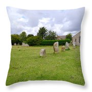 Avebury Aligned Stones Throw Pillow