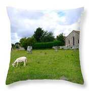 Avebury Stones And Sheep Throw Pillow