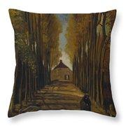 Avenue Of Poplars In Autumn Throw Pillow