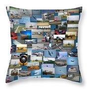 Aviation Collage Throw Pillow