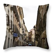 Avila Street Blue Umbrella Throw Pillow