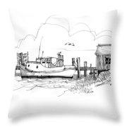 Awaiting Bluefish Run Ocracoke Nc 1970s Throw Pillow