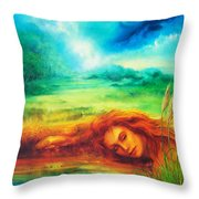Awakening Blue Throw Pillow