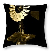 Awesome Aermotor Throw Pillow by Anne Mott