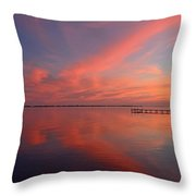 Awesome Fiery Red Clouds At Dusk Reflected On Dead Calm Santa Rosa Sound Throw Pillow