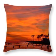 Awesome Fiery Sunset On Sound With Cirrus Clouds And Pines Throw Pillow