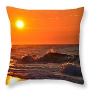 Awesome Red Sunrise Colors On Navarre Beach With Shore Waves Throw Pillow