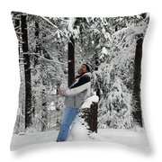 Awestruck By The Beauty Of Snow Throw Pillow