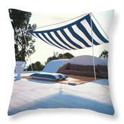 Awning At The Vacation Home Of Gaston Berthelot Throw Pillow