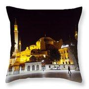 Aya Sophia In Istanbul Turkey At Night Throw Pillow by Raimond Klavins