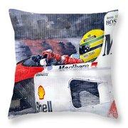 Ayrton Senna Mclaren 1991 Hungarian Gp Throw Pillow