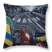 Ayrton Senna On Board At Monaco 89 Throw Pillow