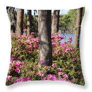 Azalea At The Lake Throw Pillow