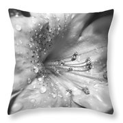 Azalea Flower With Raindrops Monochrome Throw Pillow