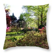 Azalea Garden Throw Pillow