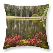Azaleas And Reflection Pond Throw Pillow
