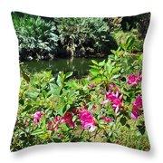 Azaleas By The Pond Throw Pillow
