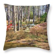 Azaleas By The Pond's Edge Throw Pillow