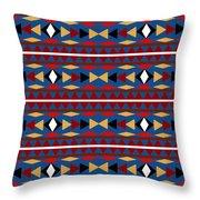 Aztec Blue Pattern Throw Pillow
