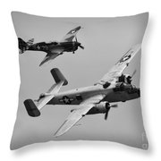 B-25 And Escort Bw Throw Pillow