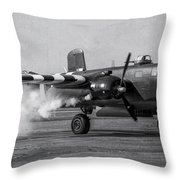 B-25 Mitchell Mk IIi Powers Up Throw Pillow
