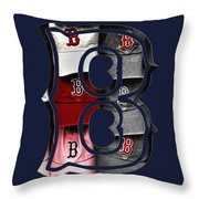 B For Bosox - Boston Red Sox Throw Pillow by Joann Vitali