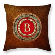 B - Gold Vintage Monogram On Brown Leather Throw Pillow