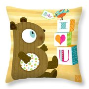 B Is For Baby Bear Throw Pillow