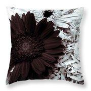 B/w Flower Throw Pillow by Ankeeta Bansal