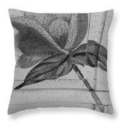 B W Wood Flower Throw Pillow