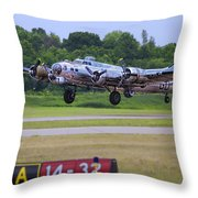 B17 Bomber Taking Off Throw Pillow