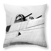 B17 Bomber Top Turret Guns Throw Pillow