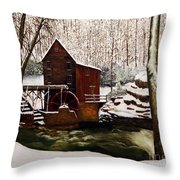 Babcock Mill In The Snow Throw Pillow