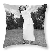 Babe Didrikson Golfing Throw Pillow