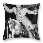 Babe Didrikson On Sidesaddle Throw Pillow