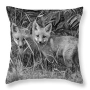 Babes In The Woods 2 - Paint Bw Throw Pillow
