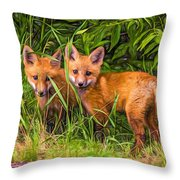 Babes In The Woods 2 - Paint Throw Pillow