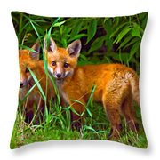 Babes In The Woods Oil Throw Pillow