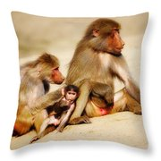 Baboon Family In The Desert Throw Pillow
