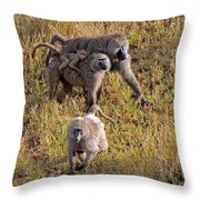 Baboon Family Throw Pillow