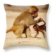 Baboon With Baby Throw Pillow