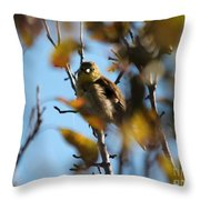 Baby American Goldfinch Learning To Fly Throw Pillow