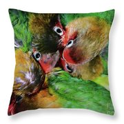 Baby Bird Nest In Hong Kong Bird Market Throw Pillow
