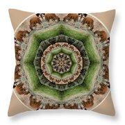 Baby Bison Mandala Throw Pillow