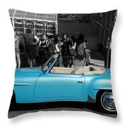 Baby Blue Benz Throw Pillow
